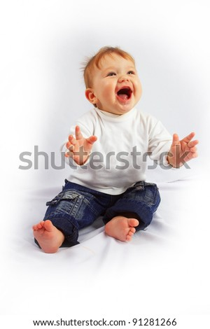 Little happy baby on white isolated background - stock photo