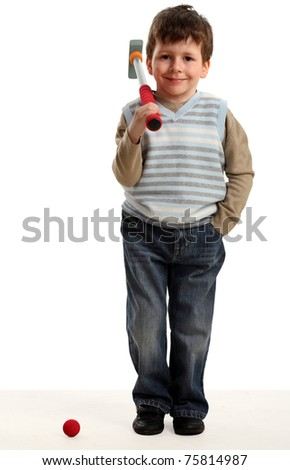 Little happy boy plays mini golf, isolated on white - stock photo