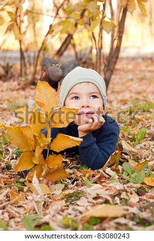 little happy boy walking in autumnal park