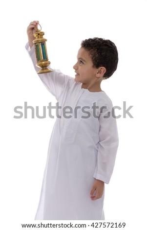 Little Happy Boy with Lantern Celebrating Ramadan Isolated on White Background - stock photo