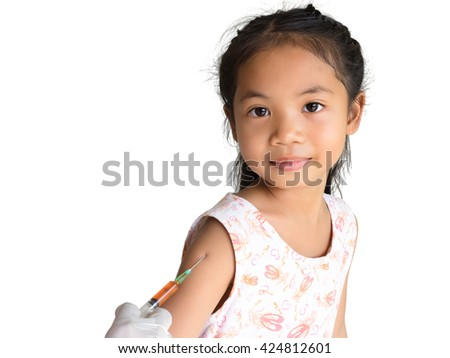 Little happy girl get an injection, vaccination - stock photo