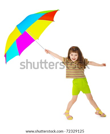 Little happy girl is playing with colored umbrella isolated on white background - stock photo