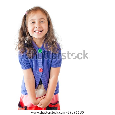 little happy girl laughing and looking into the camera. Studio shot, isolated on white background. - stock photo