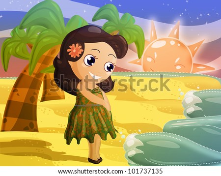 Little Hawaiian character look at the sunset - stock photo