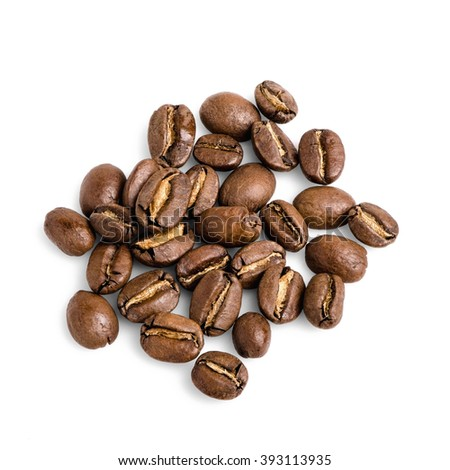 Little heap of roasted coffee beans isolated on white background. - stock photo