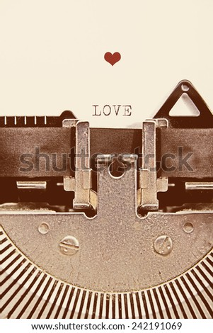 little heart printed with an old typewriter, with a retro effect - stock photo