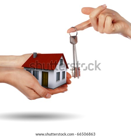 Little House on the hands and the girls. symbol of a successful real estate business.