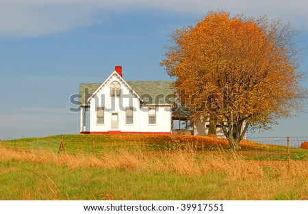 little house on the hill - stock photo