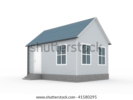 little house on white background 3D rendered picture