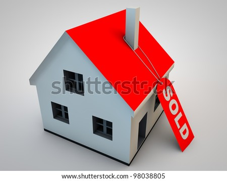 Little house with a hang tag sold - stock photo