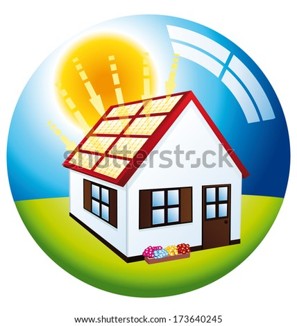 Little house with red roof and solar panels. - stock photo