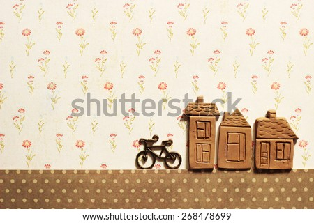 little houses and bicycle - stock photo