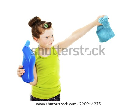 Little housewife cleaning. Isolated on white background - stock photo
