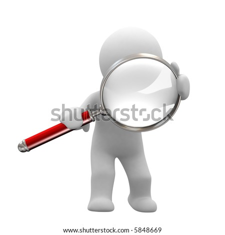 little human with big magnifier look for something - stock photo