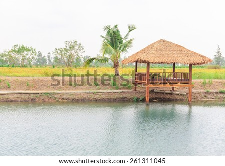 little hut beside the pool in nature background - stock photo