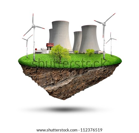 Little island with nuclear power plant and wind turbines - stock photo