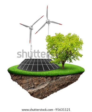 Little island with solar panel and wind turbines - stock photo