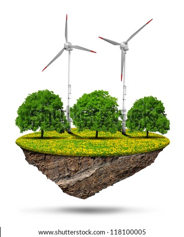 Little island with trees and wind turbines isolated on white background - stock photo