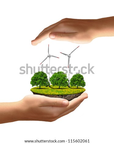 Little island with wind turbines and trees in the hands isolated on white background