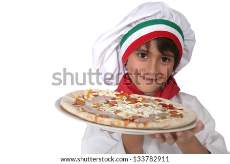 little Italian girl presenting a pizza