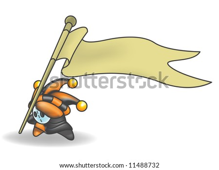 Little Jester or Joker Character holding a sign that he is sticking into the ground. - stock photo