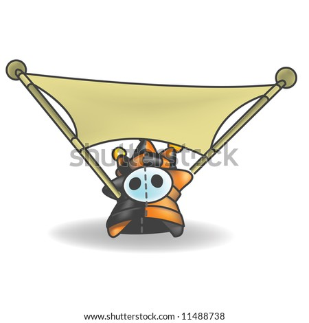 Little Jester or Joker Character stretching a sign that is left empty for your own design. - stock photo