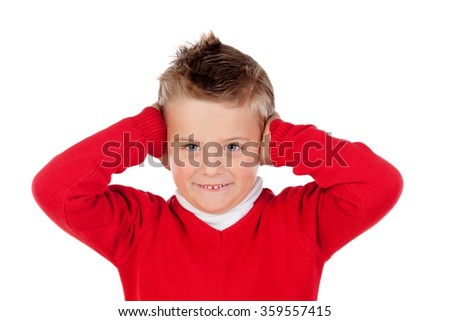 Little kid covering the ears isolated on a white background - stock photo