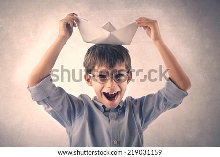 Little kid having fun - stock photo