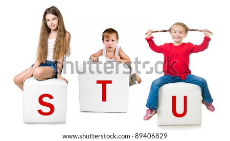 little kid on the block with letter - stock photo