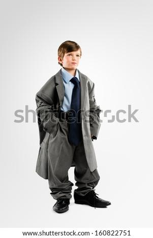 Little Kid playing Businessman  - stock photo