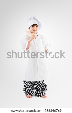 Little Kid playing Chef  - stock photo