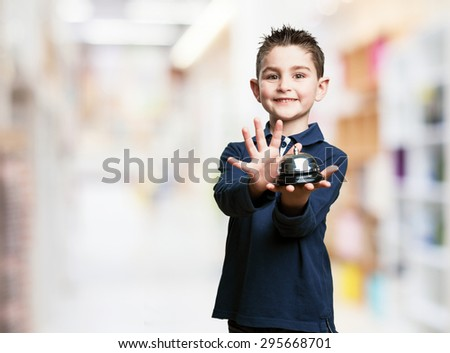 little kid pressing a button - stock photo