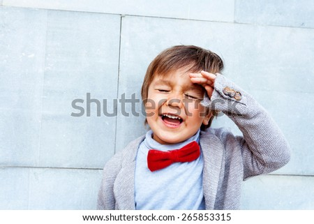 little kid smiling - stock photo
