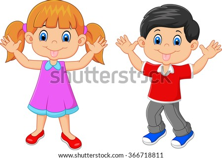 Little kid waving hand isolated on white background - stock photo