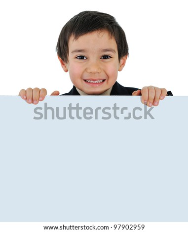 Little kid with banner for your text or picture - stock photo