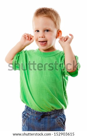 Little kid with funny face, pulling himself on the ears, isolated on white - stock photo