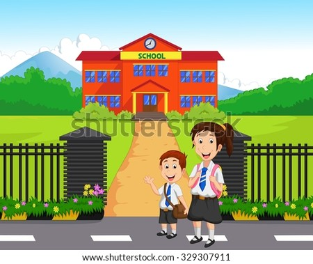 Little kids going to school - stock photo