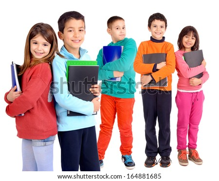 little kids holding school books isolated in white