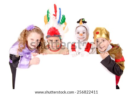 little kids in costumes on halloween isolated in white