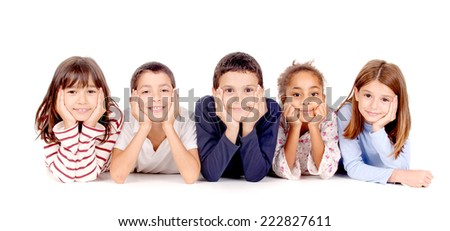 little kids isolated in white - stock photo