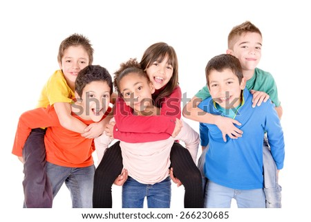 little kids isolated in white background