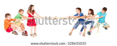 little kids playing the rope game isolated in white
