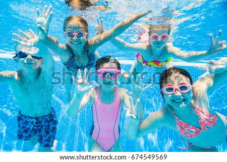 Little Kids Swimming In Pool Underwater. Part 52