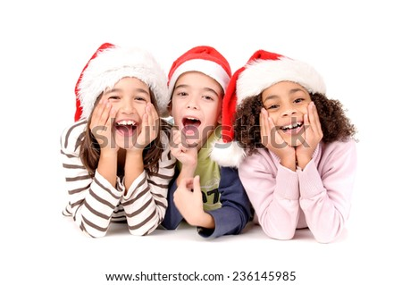 little kids with christmas hat isolated in white background - stock photo