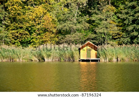 Little lake at the autumn forest. Detail from Lakes of Szajk, Hungary - stock photo