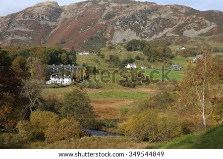 Little Langdale, Cumbria. Low quality grazing land, fields and forest in the heart of the Cumbrian Mountains and the Lake District National Park. - stock photo