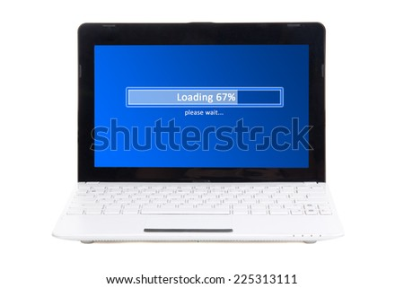 little laptop with loading panel on screen isolated on white background