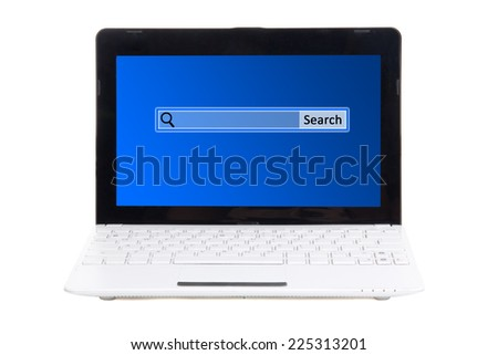 little laptop with search bar on screen isolated on white background
