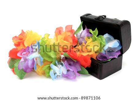 little leather box with colorful flowers in it