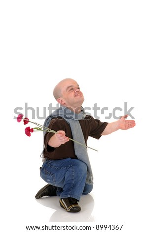 Little man, Don Juan dwarf with valentine rose, studio shot, white background - stock photo